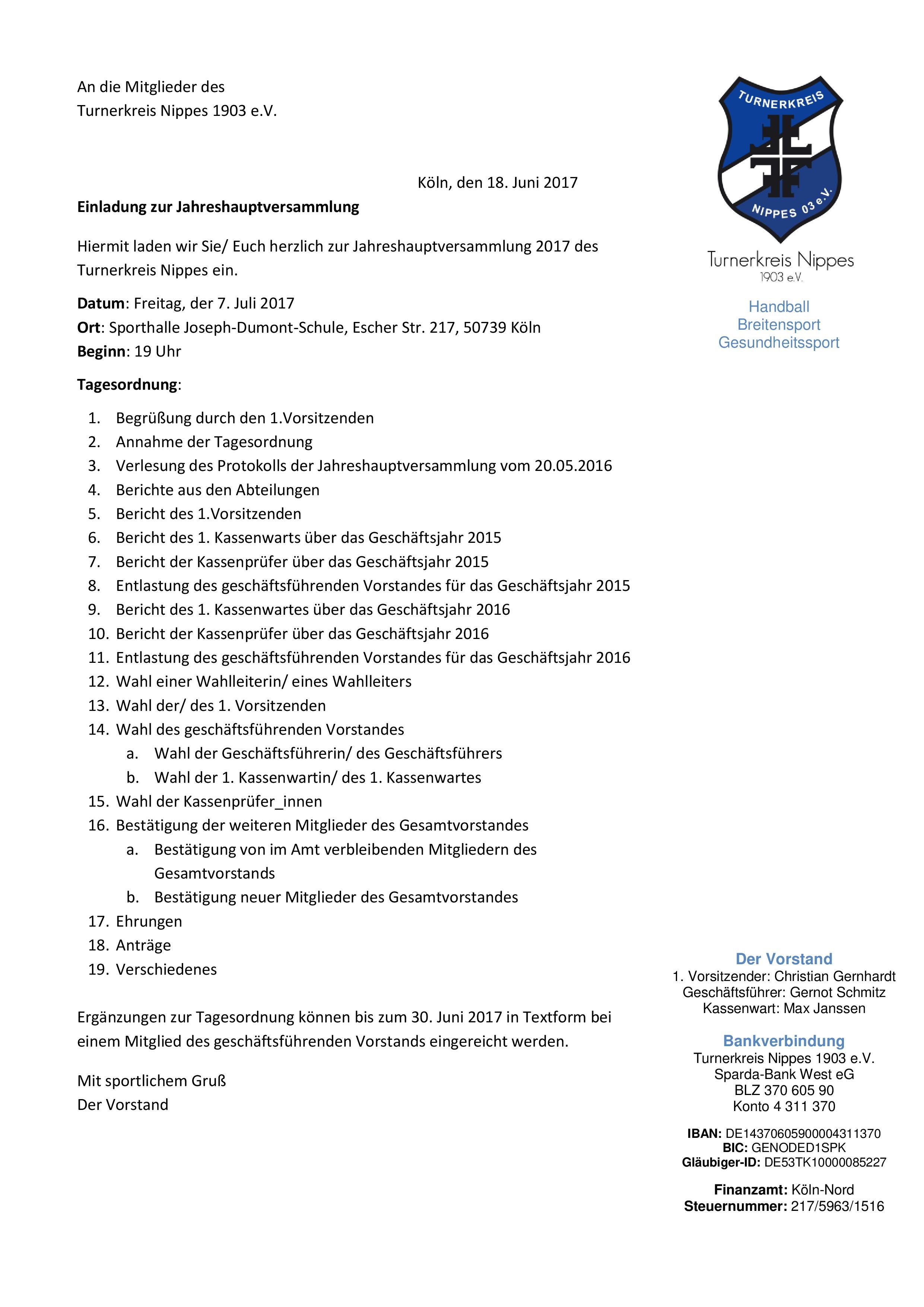 einladung jahreshauptversammlung 2017 - turnerkreis nippes, Einladung